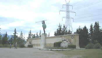 The modern Monument to those who fell and Leonidas in particular. Notice the juxtaposition of the power lines which were added later